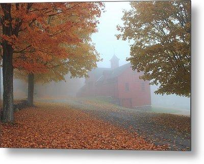 Red Barn In Autumn Fog Metal Print