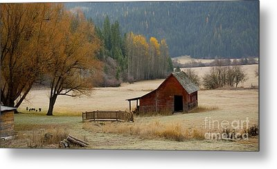 Red Barn In Autumn Metal Print by Idaho Scenic Images Linda Lantzy