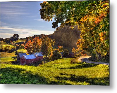 Red Barn In Autumn - Jenne Farm Metal Print by Joann Vitali
