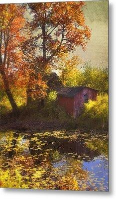 Red Barn In Autumn Metal Print by Joann Vitali