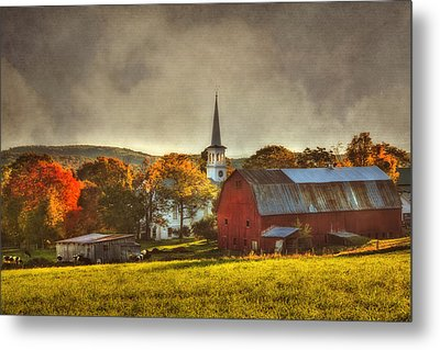 Red Barn In Fall - Peacham Vermont Metal Print