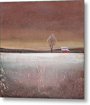 Red Barn In Snow Metal Print by Toni Grote