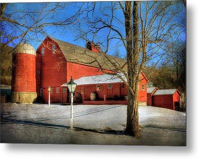 Red Barn In Snow - Vermont Farm Metal Print by Joann Vitali