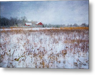 Red Barn In Snow - Winter At Retzer Nature Center  Metal Print by Jennifer Rondinelli Reilly - Fine Art Photography