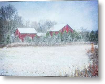 Red Barn In Winter At Retzer Nature Center  Metal Print by Jennifer Rondinelli Reilly - Fine Art Photography