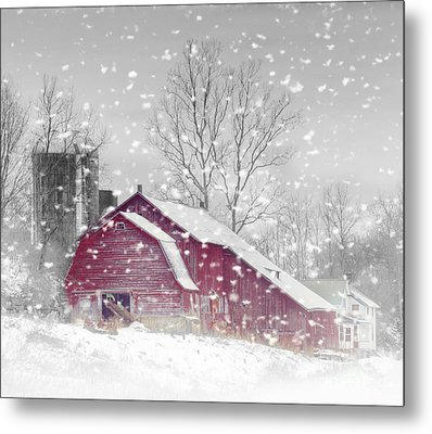 Red Barn In Winter Metal Print by Kathleen Rinker