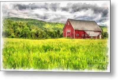 Red Barn Landscape Watercolor Metal Print by Edward Fielding