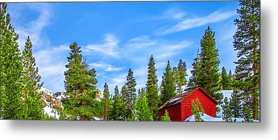 Red Barn On A Hill Metal Print
