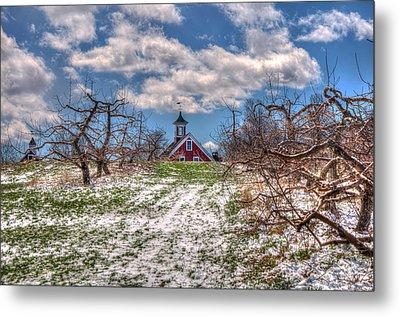 Red Barn On Farm In Winter Metal Print by Joann Vitali