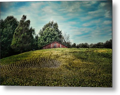 Red Barn On The Hill Metal Print by Jai Johnson