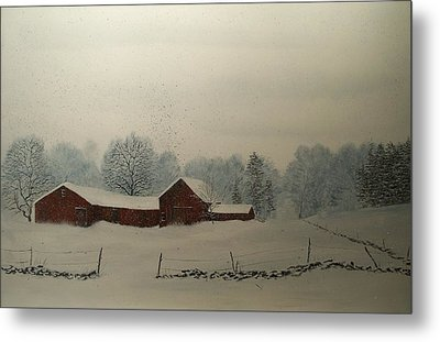 Metal Print featuring the painting Red Barn Storm by Ken Ahlering