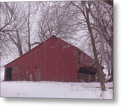 Red Barn Trees Snow Metal Print by Kevin Callahan