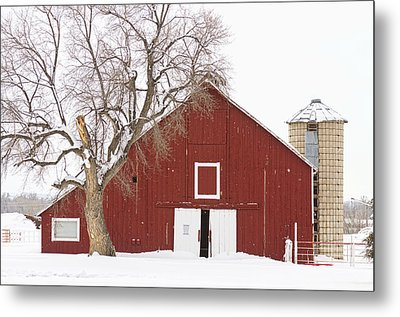 Red Barn Winter Country Landscape Metal Print by James BO  Insogna
