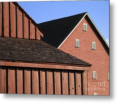 Red Barns And Blue Sky With Digital Effects Metal Print by William Kuta