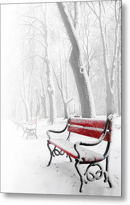 Red Bench In The Snow Metal Print by  Jaroslaw Grudzinski