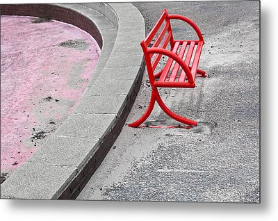 Red Bench Metal Print by Tom Gowanlock