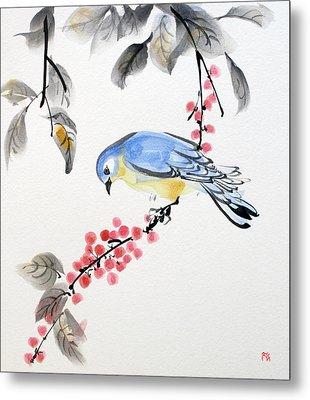Red Berries Blue Bird Metal Print