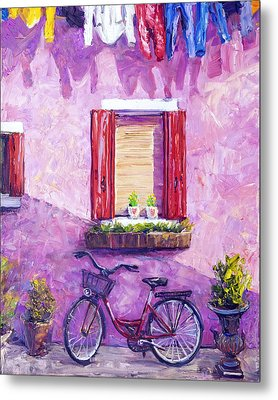 Red Bike, Burano, Italy Metal Print by Steven Boone