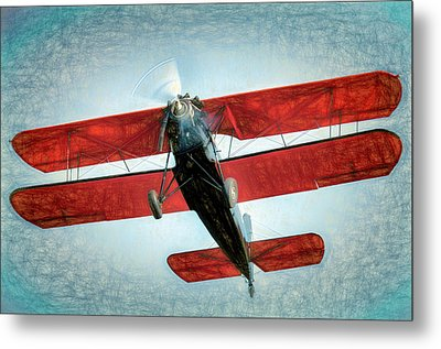 Metal Print featuring the photograph Red Biplane by James Barber
