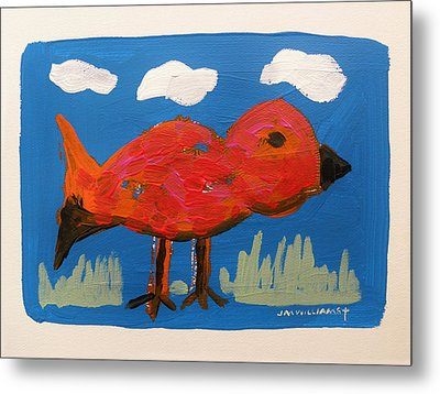 Red Bird In Grass Metal Print by John Williams