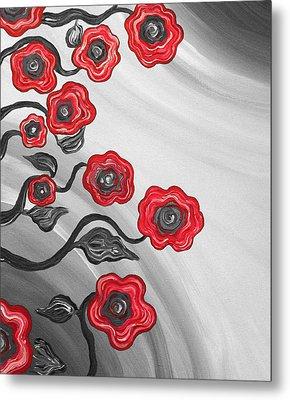 Red Blooms Metal Print by Brenda Higginson