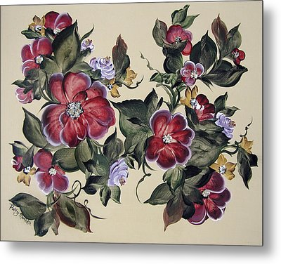 Red Blooms In Fall Metal Print by Patty Muchka
