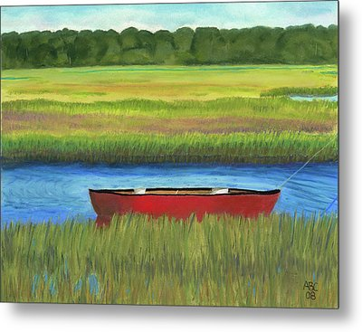 Red Boat - Assateague Channel Metal Print by Arlene Crafton