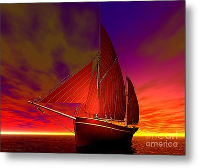 Red Boat At Sunset Metal Print