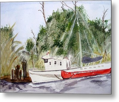 Red Boat Metal Print by Barbara Pearston