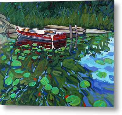 Red Boat Metal Print by Phil Chadwick