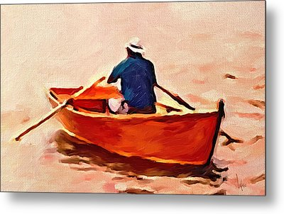 Red Boat Painting Little Red Boat Small Boat Painting Old Boat Painting Abstract Boat Art Countrysid Metal Print