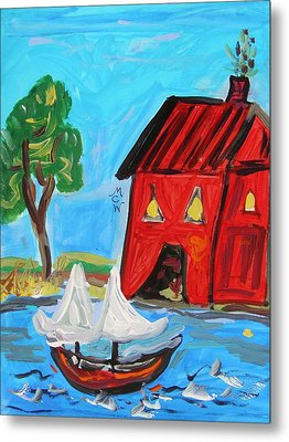 Red Boathouse And Red Sailboat Metal Print by Mary Carol Williams