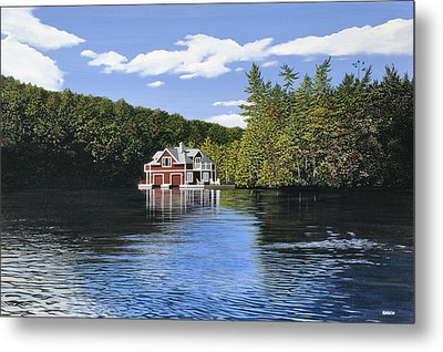 Red Boathouse Metal Print by Kenneth M  Kirsch