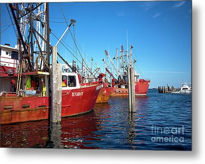 Metal Print featuring the photograph Red Boats In The Bay by John Rizzuto