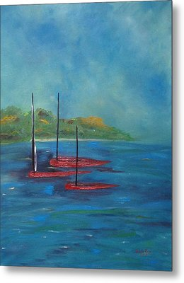 Metal Print featuring the painting Red Boats by Judith Rhue