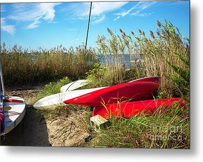 Metal Print featuring the photograph Red Boats On The Beach by John Rizzuto