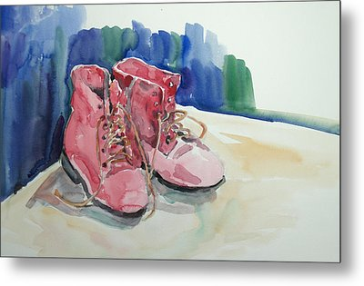 Red Boots Metal Print by Becky Kim