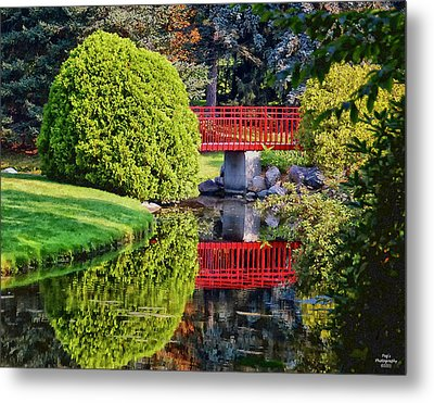 Red Bridge At Dow Gardens Metal Print