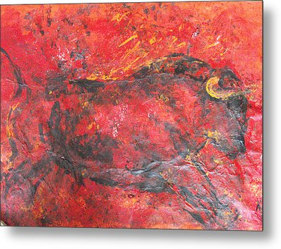 Metal Print featuring the painting Red Bull by Koro Arandia
