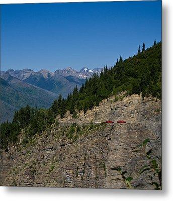 Red Buses, Glacier National Park Metal Print