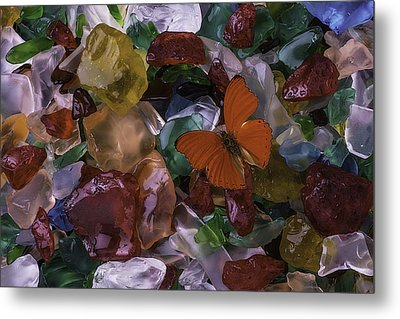 Red Butterfly On Sea Glass Metal Print by Garry Gay