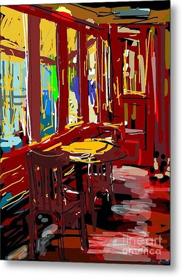 Red Cafe Metal Print by Sandra Haney