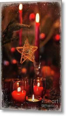 Metal Print featuring the photograph Red Candles  by Elena Nosyreva
