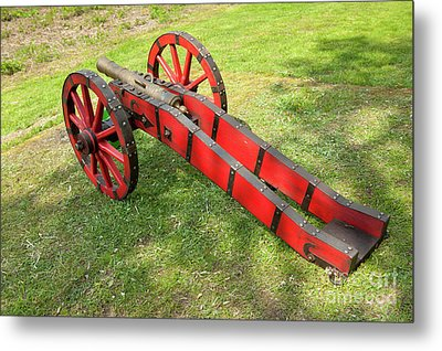 Red Cannon At Swedes Invasion Metal Print by Arletta Cwalina