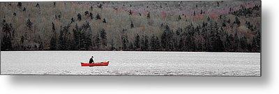 Red Canoe On Limekiln Lake Metal Print by David Patterson