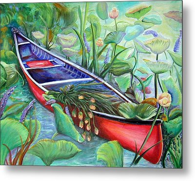 Metal Print featuring the painting Red Canoe by Patricia Piffath