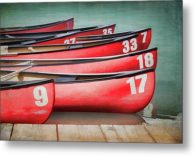 Metal Print featuring the photograph Red Canoes At Lake Louise by Debby Herold