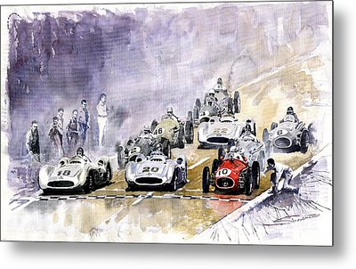Red Car Maserati 250 France Gp Metal Print by Yuriy  Shevchuk