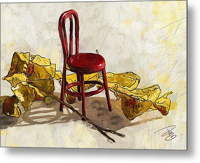 Red Chair And Yellow Leaves Metal Print