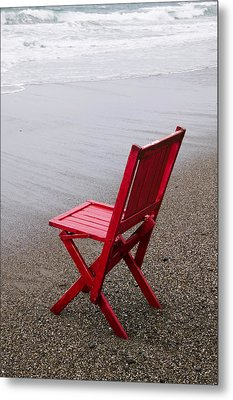 Red Chair On The Beach Metal Print